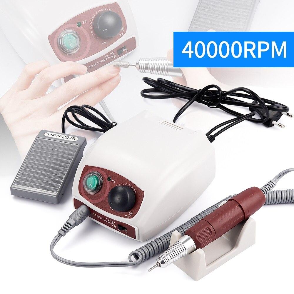 Güçlü 210 207B 35K kontrol kutusu 40000RPM mikro Motor elektrikli manikür matkap seti tırnak matkap makinesi için parlatma manikür araçları