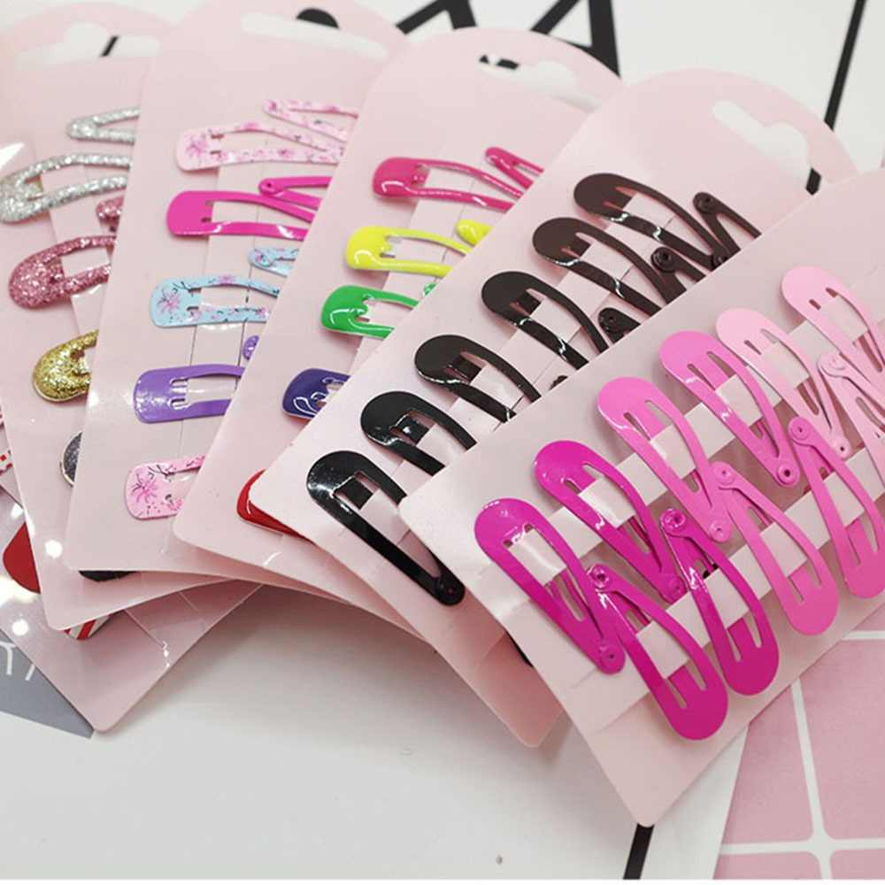 10Pcs/Set Cartoon Metal Hair Clips for Children Girls Lovely Headwear Hairpins Hairgrip Candy Color Hair Accessories Hot Sale