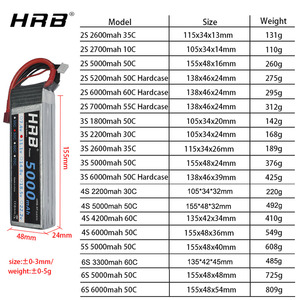 Image 5 - HRB batería Lipo 2S 3S 4S 6S, 11,1 v, 22,2 mah, 5000mah, 6000mah, 3300mah, 2200mah, 4200mah, 5200mah, 7000mah, XT60 T, enchufe decanos