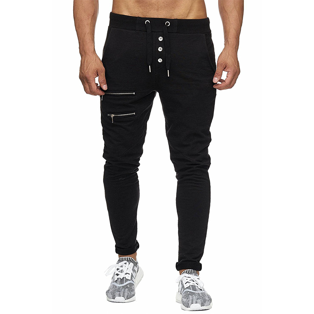 2018 Cross Border Foreign Trade New Style MEN'S Casual Pants Zipper Lace-up Solid Color Slim Fit Skinny Pants Plus-sized Menswea