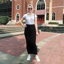 Dubai Arab Muslim knit Pencil Skirt Women High Waist Strech Bodycon Hips Long Skirts Middle East Turkish Abaya Islamic Clothing