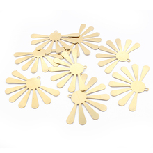 10pcs Charms Open Sector Flower Raw Brass Pendant Diy Bohemia Earring Necklace Women Jewelry Making Findings dry flower diy raw stone necklace