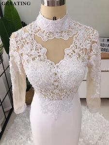 Image 5 - אלגנטי גבוה צוואר ארוך שרוולי בת ים לבן שמלות נשף 2019 אשליה תחרה Applique 3D פרחוני שחור ילדה ארוך סיום שמלה