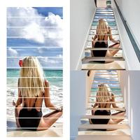 Beautiful Girl Beach Decoration Background Waterproof Living Room Stair Pack Stickers(13pcs) Stickers
