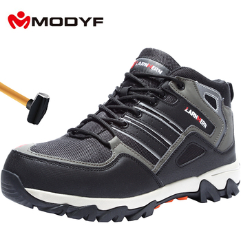 MODYF Breathable Men Safety Shoes Steel Toe Work Shoes For Men Anti-smashing Construction Hiking With Reflective