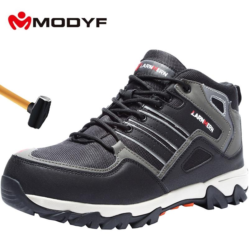 MODYF oddychające męskie obuwie ochronne ze stali Toe buty robocze dla mężczyzn Anti smashing budowy piesze wycieczki z odblaskowe w Obuwie robocze i ochronne od Buty na  Grupa 1