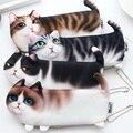 Креативный милый чехол-карандаш с изображением кошки  Корейская Студенческая косметичка с трехногими котами  кошелек для монет  школьные п...