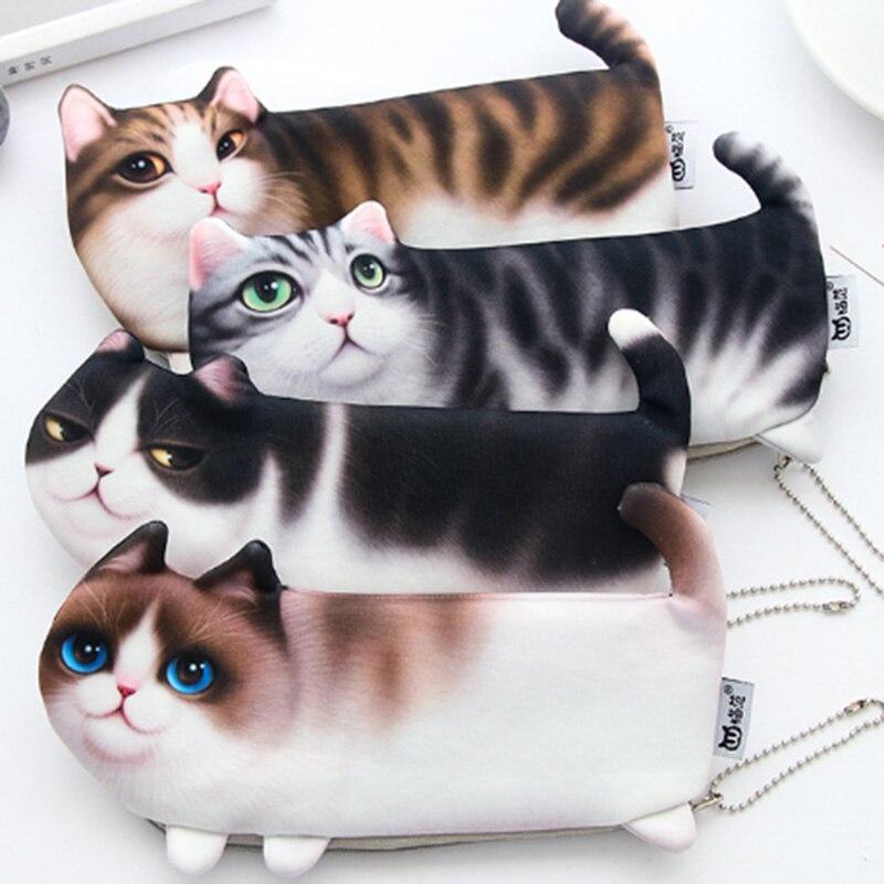 Creative cute simulation cat pencil case Korean printing Three legged cat student cosmetic bag coin purse school supplies Pencil Bags     - title=