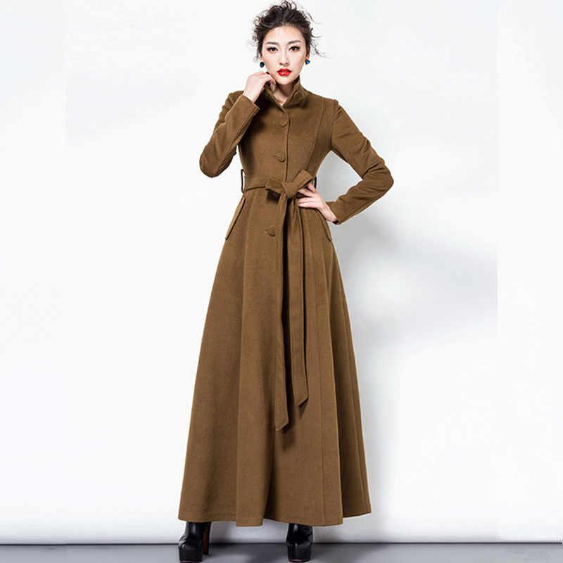 Womens Coat Full Length Velvet Slim Swing Maxi Dress Long Overcoat Trench Autumn