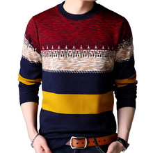 GAAJ 2019 brand casual autumn winter warm pullover knitted striped male sweater men dress thick mens sweaters jersey clothing(China)