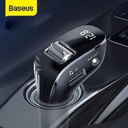 Baseus-Kit de adaptador AUX Bluetooth para coche, reproductor Mp3 automático manos libres para coche, con cargador USB Dual receptor Bluetooth, transmisor FM