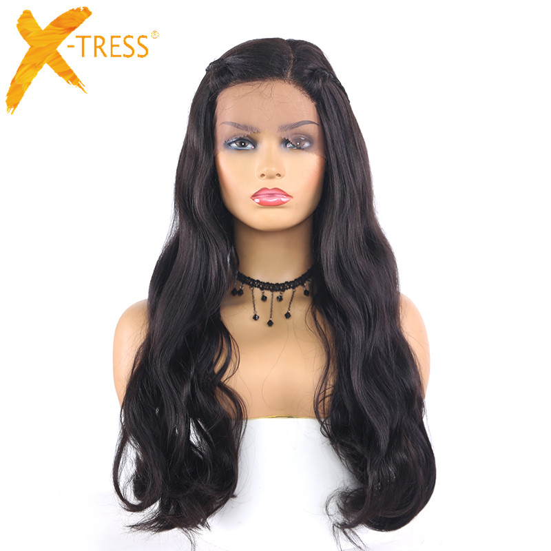 Dark Brown Wig Natural Wave Synthetic Lace Front Wigs With Braid Long Size Heat Resistant L Part Lace Wig For Women X-TRESS