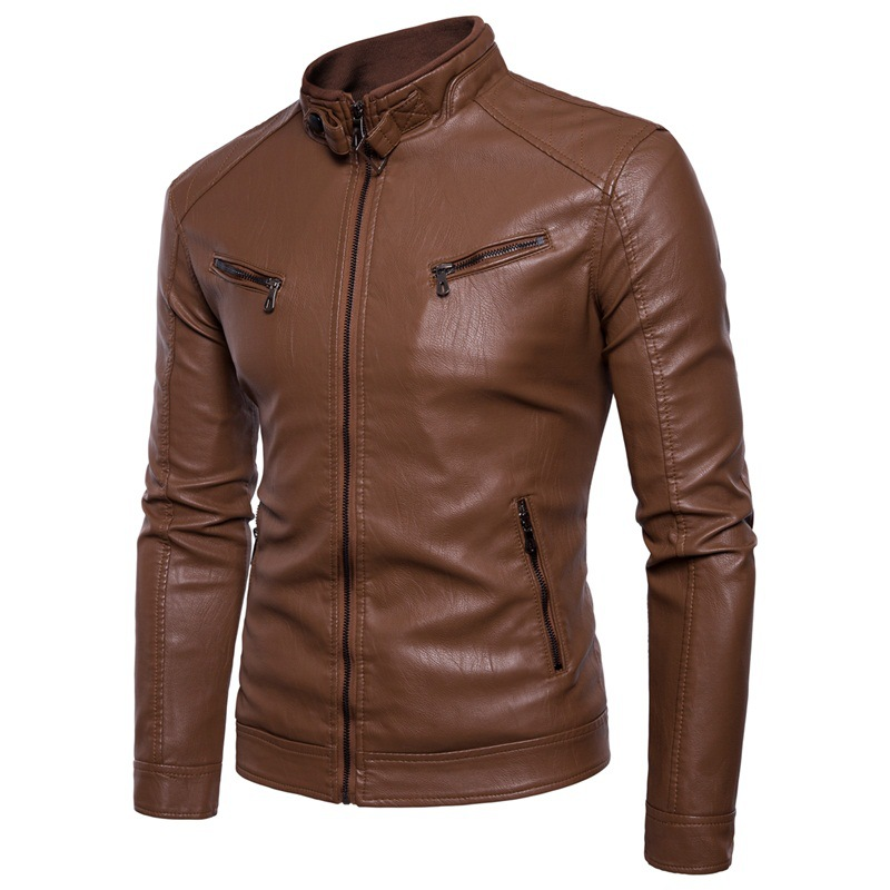 AliExpress Large Size Plus Velvet Men's Leather Coat EBay Stand Collar Iron Button Sportsman Plus Velvet Leather Coat Men's