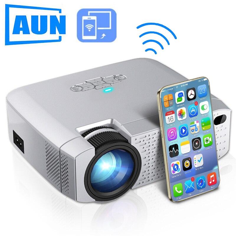 AUN LEDミニプロジェクターD40W、ホームシネマ用ビデオビーマー。1600ルーメン、サポートHD、iPhone / Android Phone用ワイヤレス同期ディスプレイПроектор
