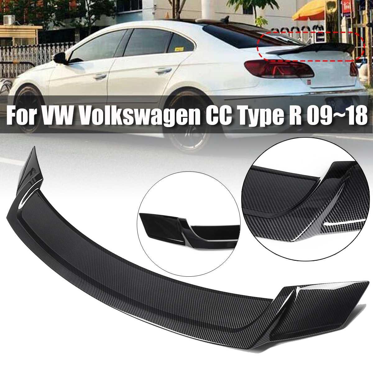 1 pièces fibre de carbone Style/brillant noir ABS plastique toit arrière aileron aile lèvre pour VW pour Volkswagen pour CC Type R 2008-2018