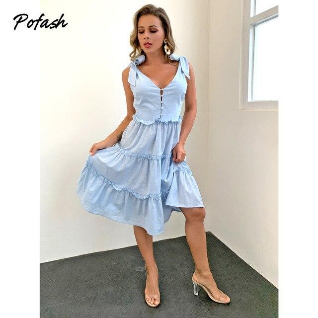 Pofash Blue Solid Midi Dress Women Spaghetti Strap Bow Sleeveless Ruffle Summer Dress V Neck Button Backless Sexy Vestidos 2021 3