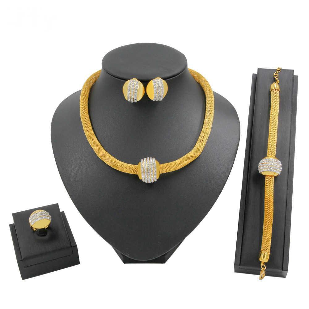 Luxuriöse Halskette Frauen Dubai Gold Schmuck Sets für Frauen Mädchen Afrikanische Kunst Leben Goldene Halskette Gelb Colliers