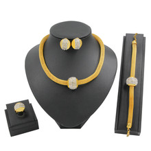 Luxurious Necklace Women Dubai Gold Jewelry Sets for Womens Girls African Art Life Golden Necklace Yellow Chokers(China)