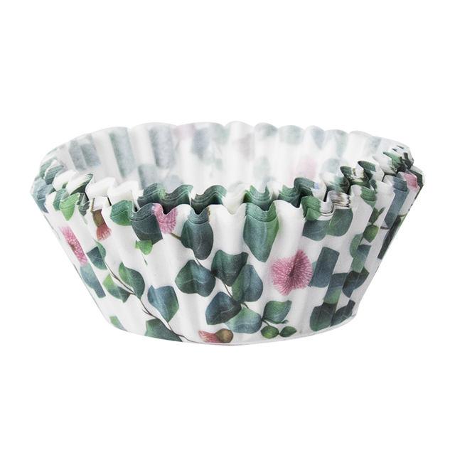 Leaves Printed Cupcakes Baking Bowl Set 40 Pcs