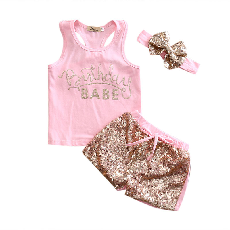 Summer Newborn Baby Girl Letters Babe Vest Top+Sequin Shorts Heandband Outfits Clothes Sunsuit Clothing