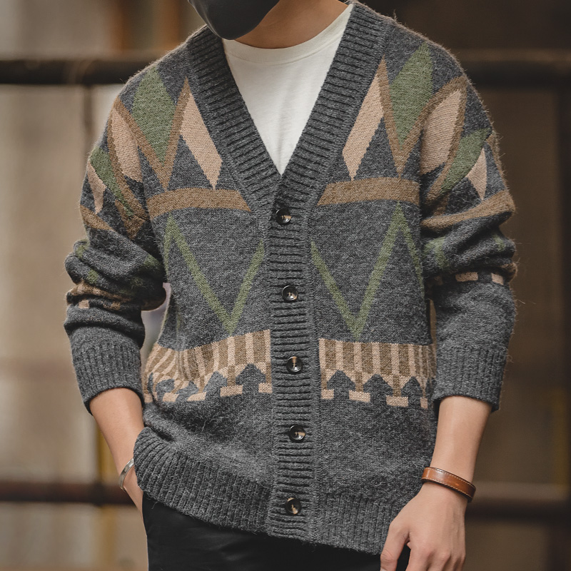 Men's Loose Fit Retro Thick Warm Winter Button Down V-Neck Geometry Knitted Cardigan Sweater Jacket With Pattern