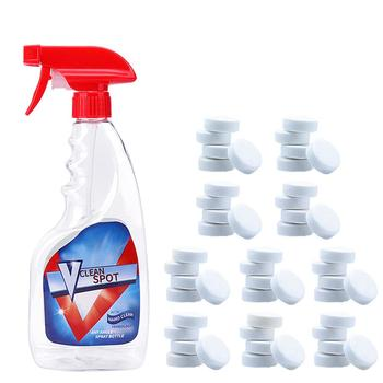 Tableta efervescente multifuncional + juego de botellas de Spray, papel protector para el hogar, limpiador de vidrios del parabrisas del coche, herramienta para tableta concentrada