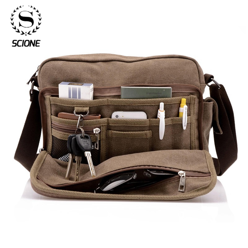 Scione Canvas Multifunction Messenger Shoulder Bag Solid Briefcases Suitcase Card Pocket For Men Women Office Outdoor Travel Bag