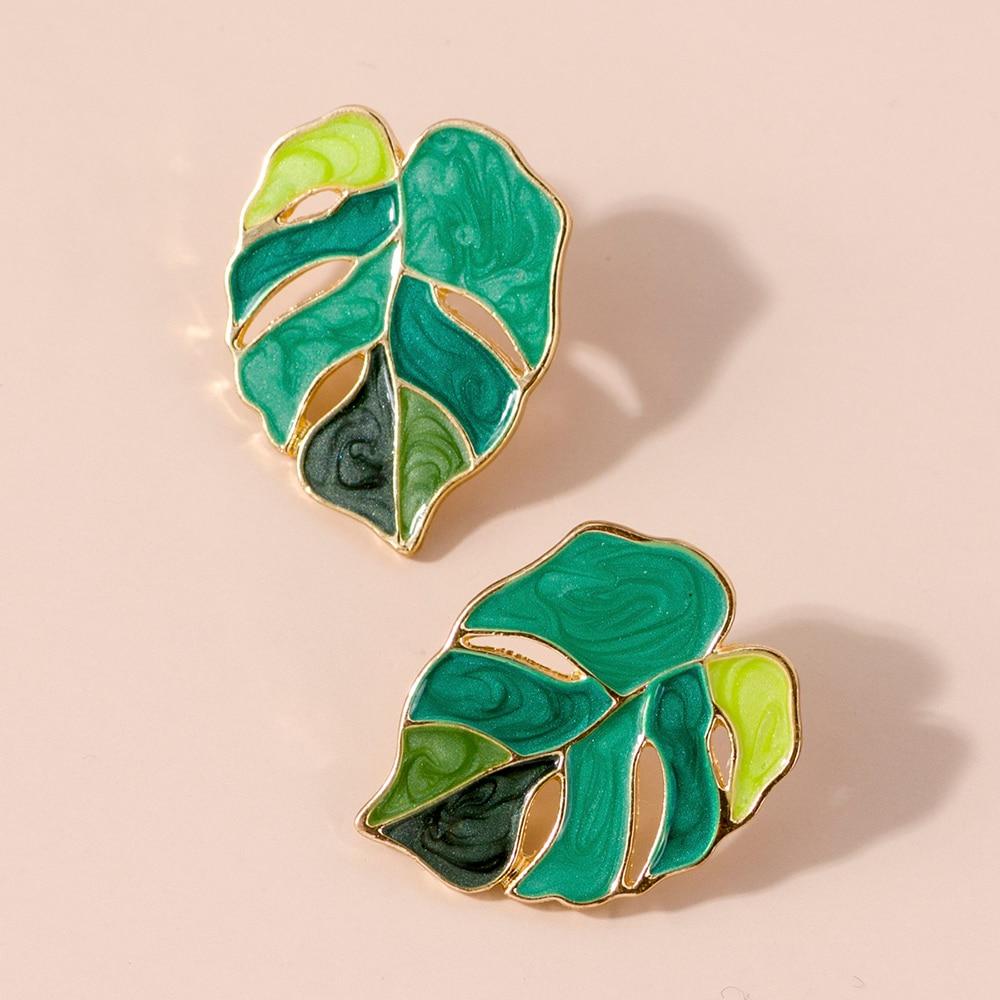Lost леди растений и зеленым листом, свисающие серьги для женщин, серьги на весну модные массивные серьги оптовая продажа ювелирные изделия д...