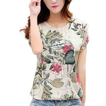 Women's Floral Print Blouses ladies Shirts Summer Tops Casual Blouse Shirt Plus Size 1