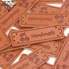 Handmade-Tags Cherry-Labels Sewing-Materials Diy-Crafts Bag/shoes Brown 50pcs