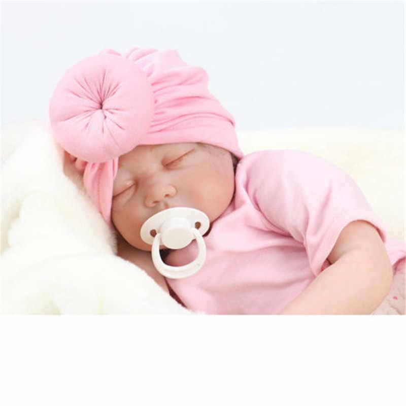 38cm * 15cm ילדי אביזרי יילוד פעוטות ילדים תינוק ילדי טורבן כותנה כפת כובע חורף חם רך כובע מוצק קשר רך לעטוף