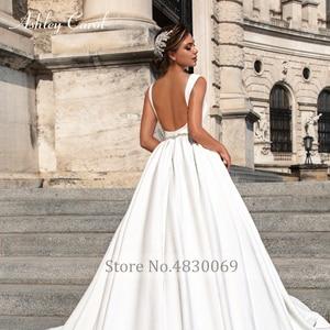 Image 5 - Ashley Carol Satin Ball Gown Wedding Dress 2020 Beaded V neck Sleeveless Backless Luxury Princess Bride Gown Vestido de Noiva
