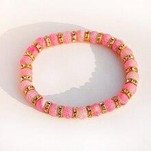 Модный розовый Состаренный камень, бисерные браслеты для женщин, ручной работы, золотистый металл со стразами, бусины, очаровательный браслет для мужчин, бижутерия, подарок