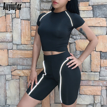 Auyiufar Reflective Women Short Sets Sleeve Skinny Tracksuit Fashion Patchwork Striped Solid Clying New Females Clothes