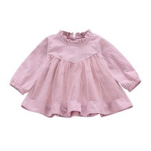 Autumn Dress Baby Girls Casual Plaid Print Long Sleeve Patchwork Mesh Dress Kids Toddler Pageant Sundress