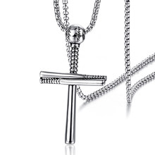 Baseball Cross Necklace Men Jewelry Collares Stainless Steel Pendant Necklaces Sport Fashion Hip Hop Mens Jewellery Gold Black(China)