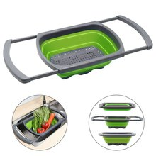 Kitchen Strainers Folding Drain Basket Colander Collapsible with Extendable Handles Sink for Draining Fruit Vegetable