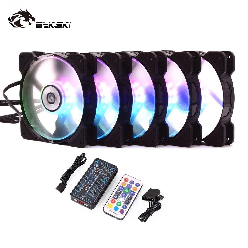 Bykski refroidissement par eau radiateur ventilateur ordinateur PC boîtier ventilateur 120mm lumière LED 5v RGW contrôleur radiateur refroidisseur Support ajuster la vitesse
