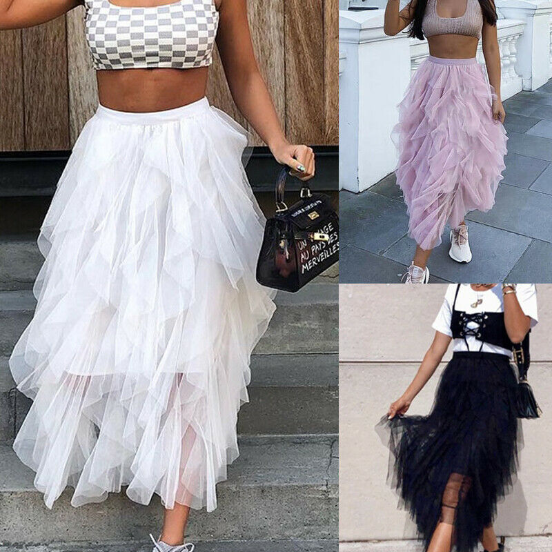 Womens Double Layers Tulle Pleated Retro Fashion Womens Midi Skirt Elastic High Waist Front Slit Skirt 2019 NEW Bandage Skirts