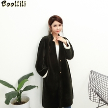 Boollili Real Fur Coat Female Sheep Shearing Wool Winter Lon