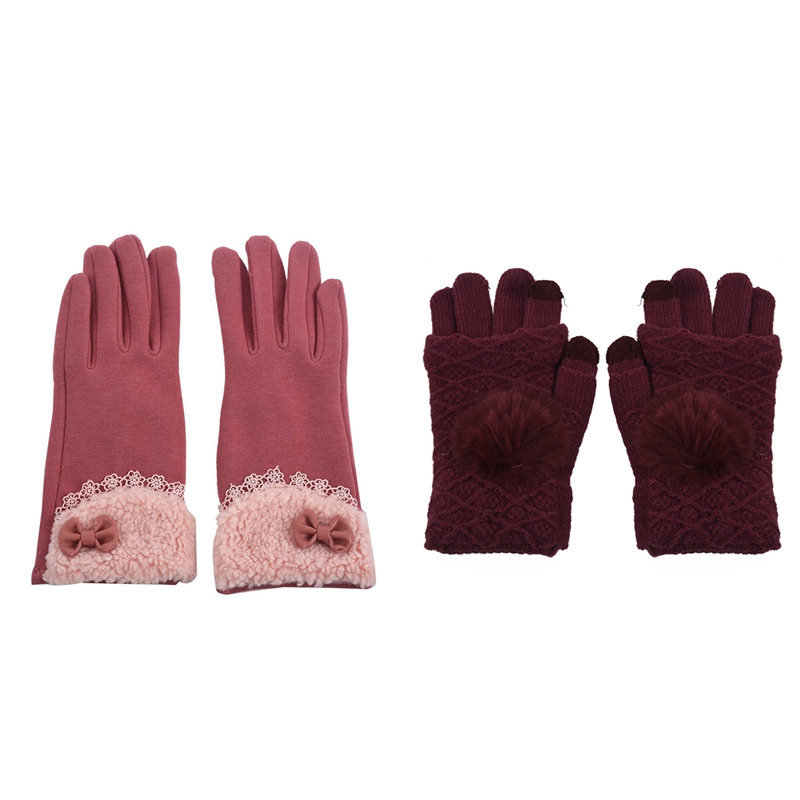 2 Pair New Lady Winter Glove Bow Lace Elegant Thicken And Warm Fashion Glove Finger Knitted Touch-Screen Glove Female, Jujube Re