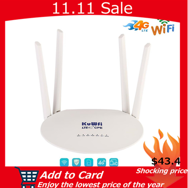 KuWfi 4G LTE Router 300Mbps Wireless CPE 3G/4G LTE Mobile Wifi Hotspot With Sim Card Slot&4Pcs External Antenna Up 32Users