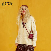 ELFSACK Borgoña sólido encaje contraste punto Cardigans suéter mujer 2019 Beige otoño solo Breasted suéteres de mujer Patchwork(China)