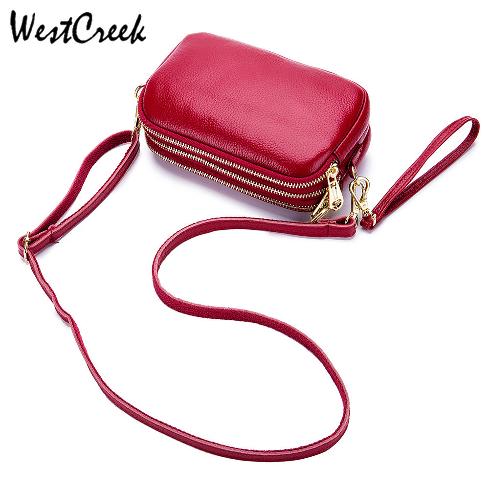 WESTCREEK Three-layer Bag Ladies Messenger Zipper Pouch Soft Genuine Leather Ladies Bags Women Crossbody Handbag Purse Clutch