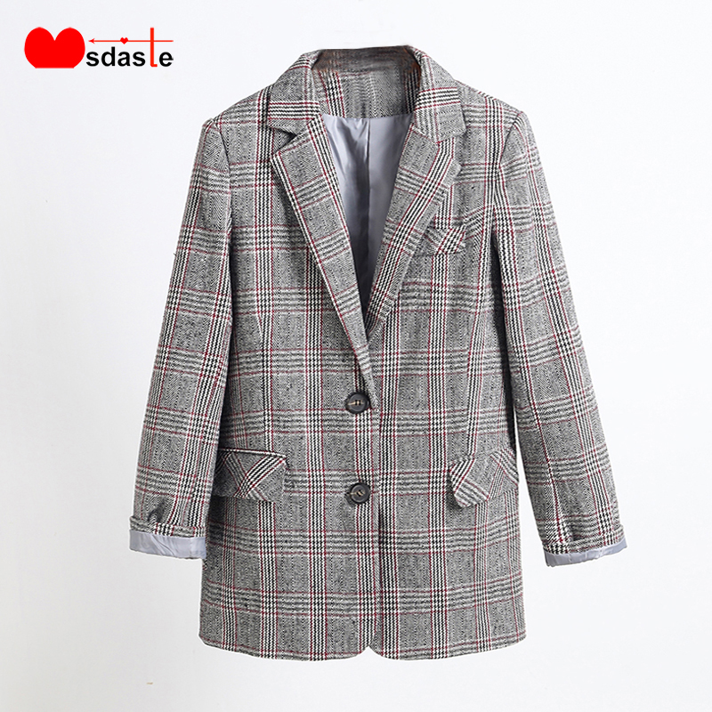 Women Blazers And Jackets 2019 Autumn Office Lady Blaser Formal Workwear Single Breasted Woman Plaid Jackets And Coats Blazer