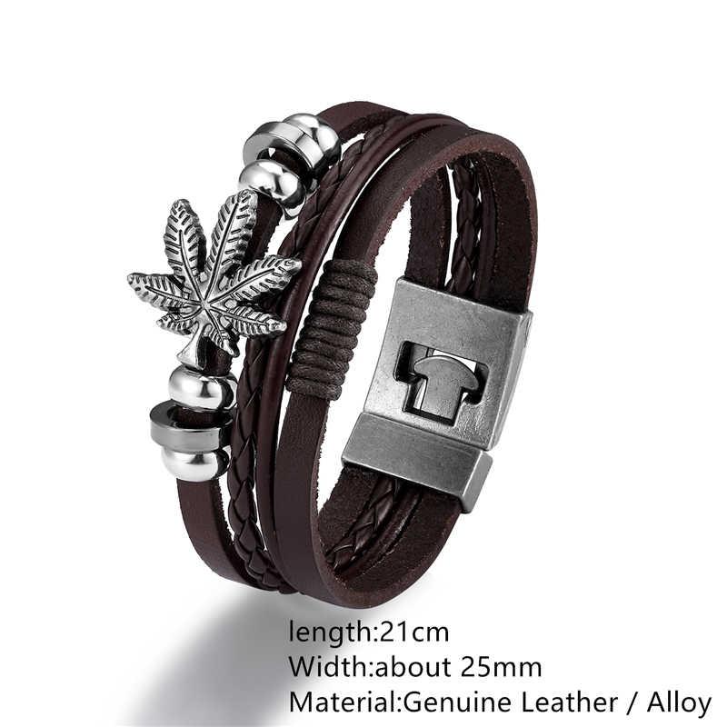 Punk indiano maple leaf anchor braceletes homem crânio multi-camada de couro envoltório pulseira homme pulseira masculino charme manguito pulseiras