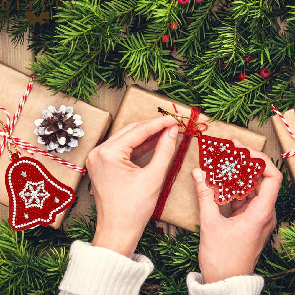 10 stücke 5d Diy Diamant Malerei Weihnachten Ornamente Diamant Mosaik Kristall Glänzenden Perlen Weihnachten Baum Dekoration Für Home GS01