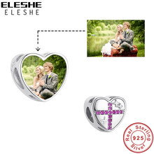 ELESHE Fashion Customized Photo 925 Sterling Silver Heart Charm with Pink CZ Cross Bead Fit Original Bracelet DIY Women Jewelry(China)