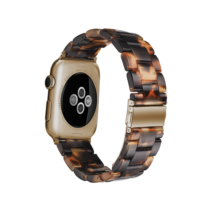 Resin watchband strap For Apple watches VIOTOO Watch Accessories Stainless Steel Bracelet Resin Watch bands For Iwatch 4 44mm in Watchbands from Watches