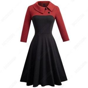 Image 3 - Femmes Vintage Patchwork automne décontracté affaires robe patineuse boutons col rabattu a ligne fête robe de bureau EA136
